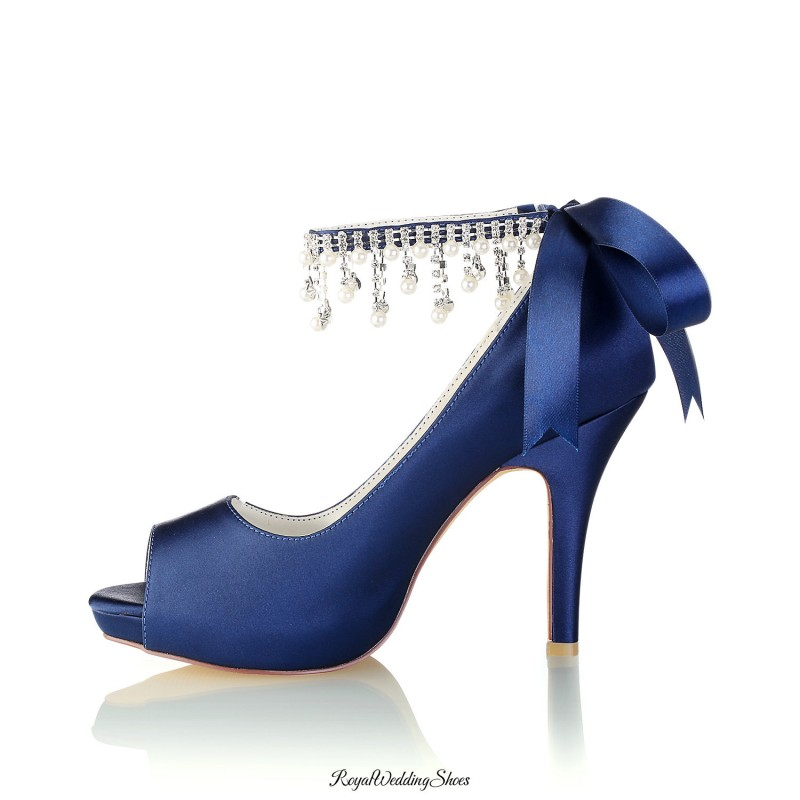 Peep-Toe High-Heel Navy-Blue Bridal Shoes With Pearl And