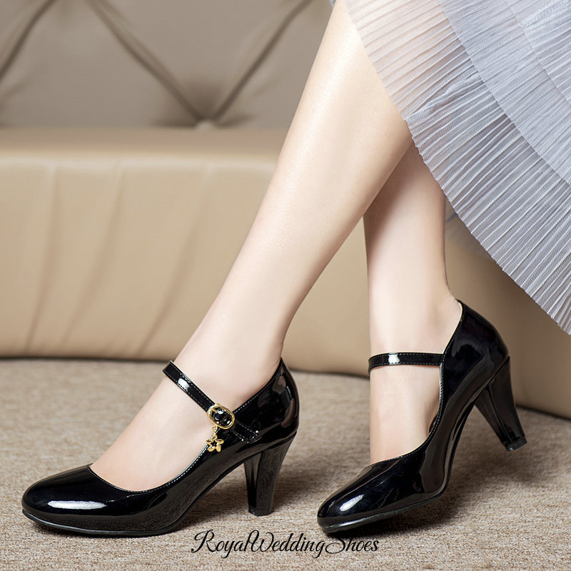 Round Toe Chunky Heel Pumps With Strap