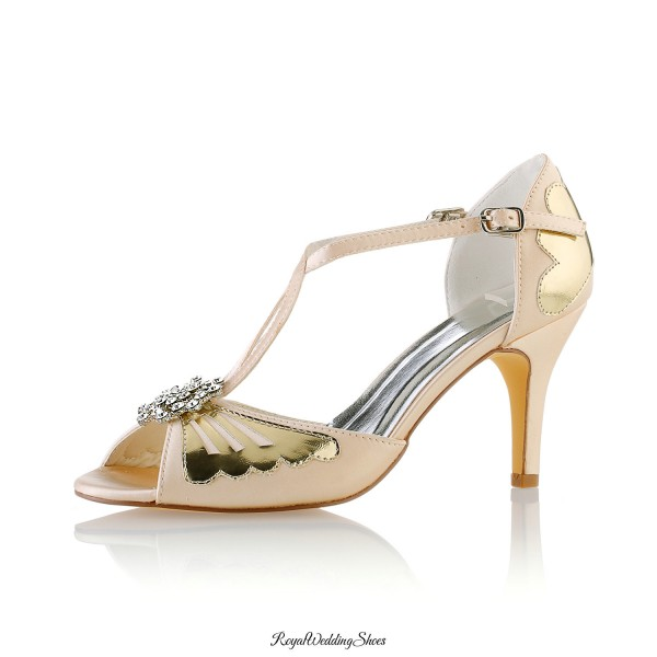 Peep Toe Medium Heel T Strap Champagne Sandals With Crystal Ornament