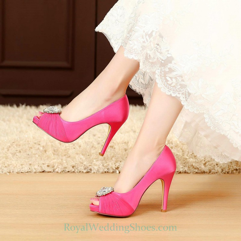 29fb207fb4c0 Satin Ultra High Heel Crystal Hot Pink Evening Shoes Fuchsia Wedding Shoes
