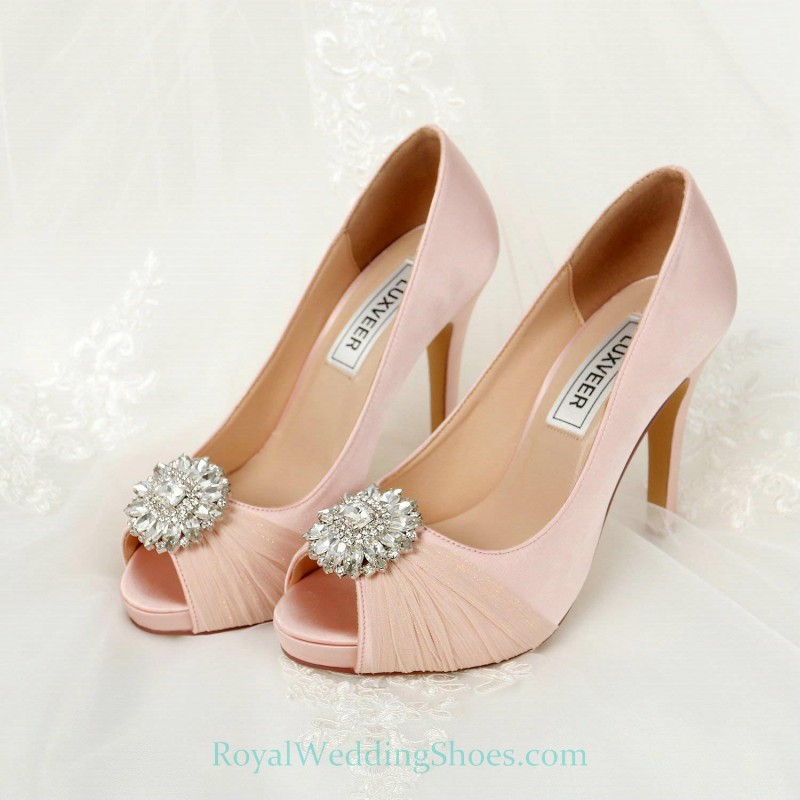 Tulle Satin Brooch Ultra High Heel Blush Pink Wedding