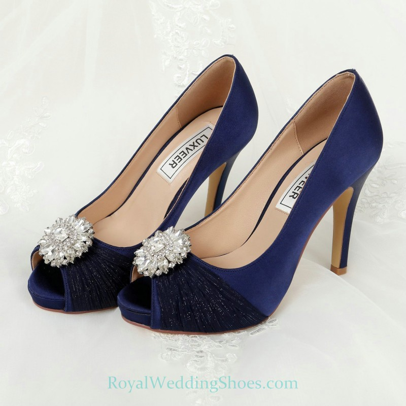 Ultra High Heel Satin Crystal Dark Royal Blue Prom Evening