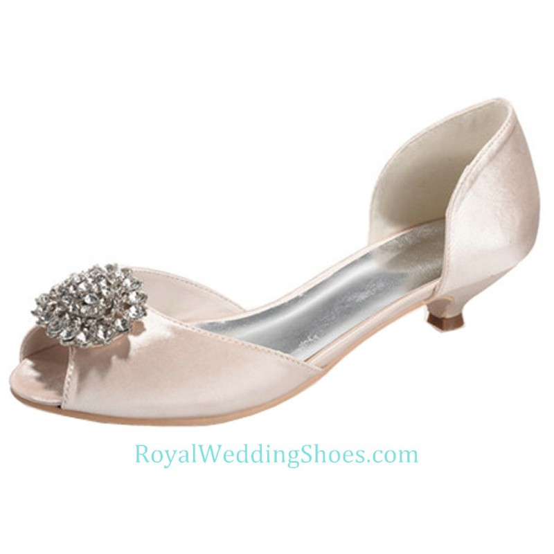 Pink Low Heel Wedding Shoes: Open Toe Satin Blush Pink Wedding Shoes Low Heel