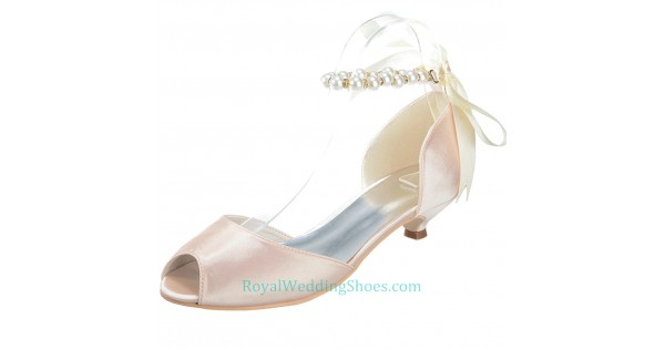 Peep Toe Satin Ankle Straps Blush Pink Wedding Shoes Low Heels