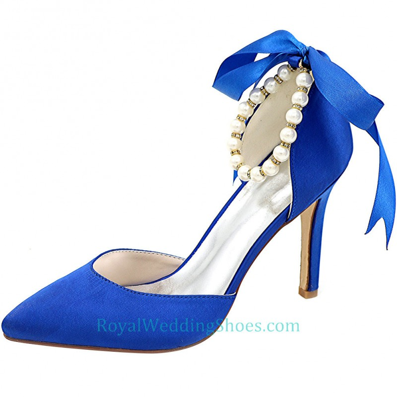 Pointed Toe Satin Royal Blue Wedding Shoes With Ribbon And Pearls