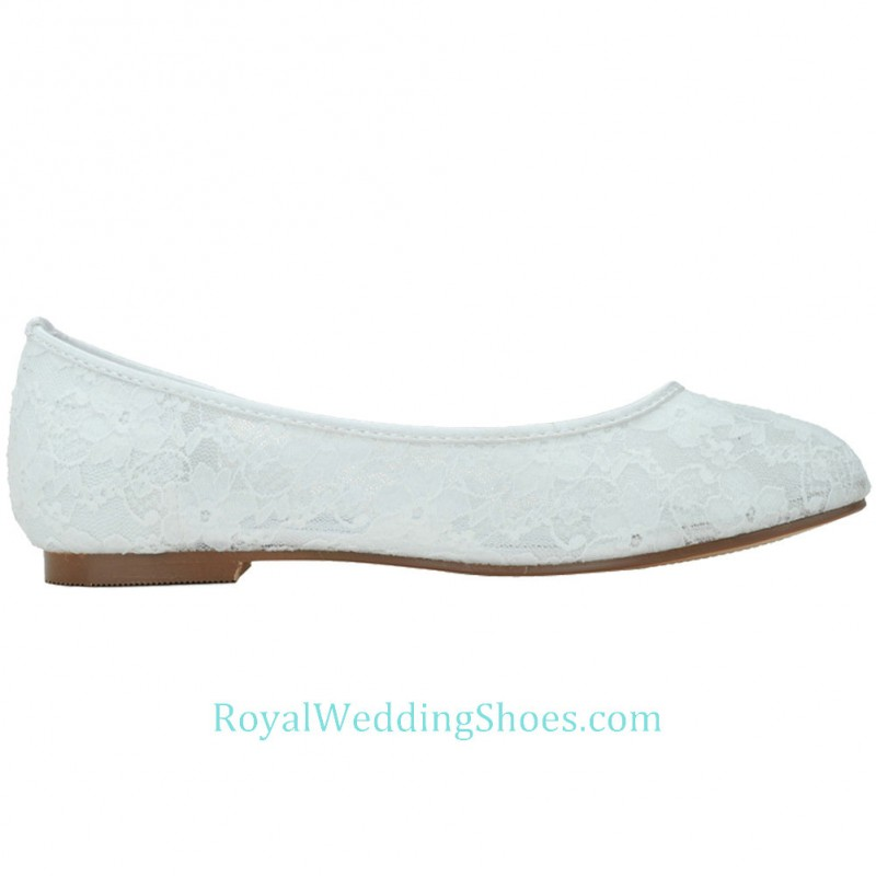Round Toe White Lace Wedding Shoes Flat 2d272a78cdfc