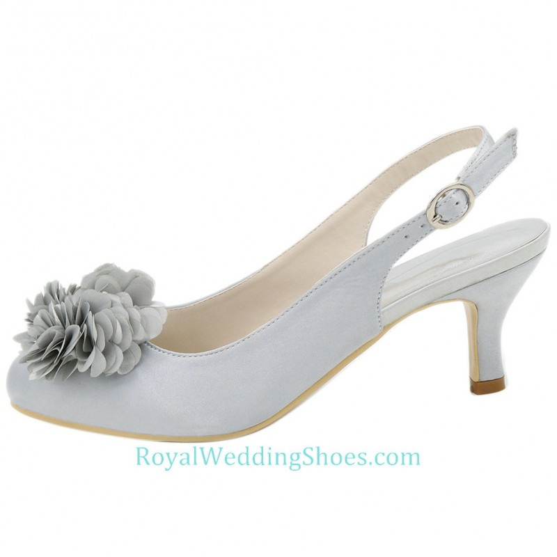 Round Toe Slingback Low Heel Wedding Shoes Silver