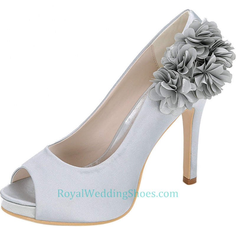 Ultra High Heel Peep Toe Silver Wedding Prom Shoes With Flower