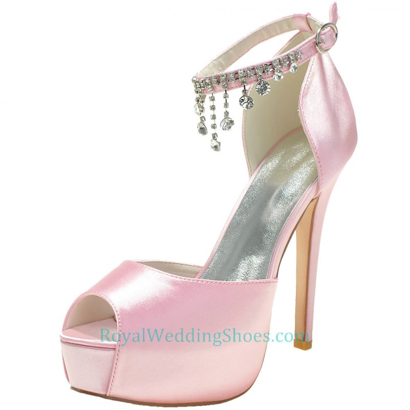 ultra high heel satin ankle strap pink wedding shoes