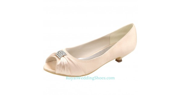 Pink Wedding Shoes Low Heel: Peep Toe Satin Low Heel Wedding Shoes Blush Pink