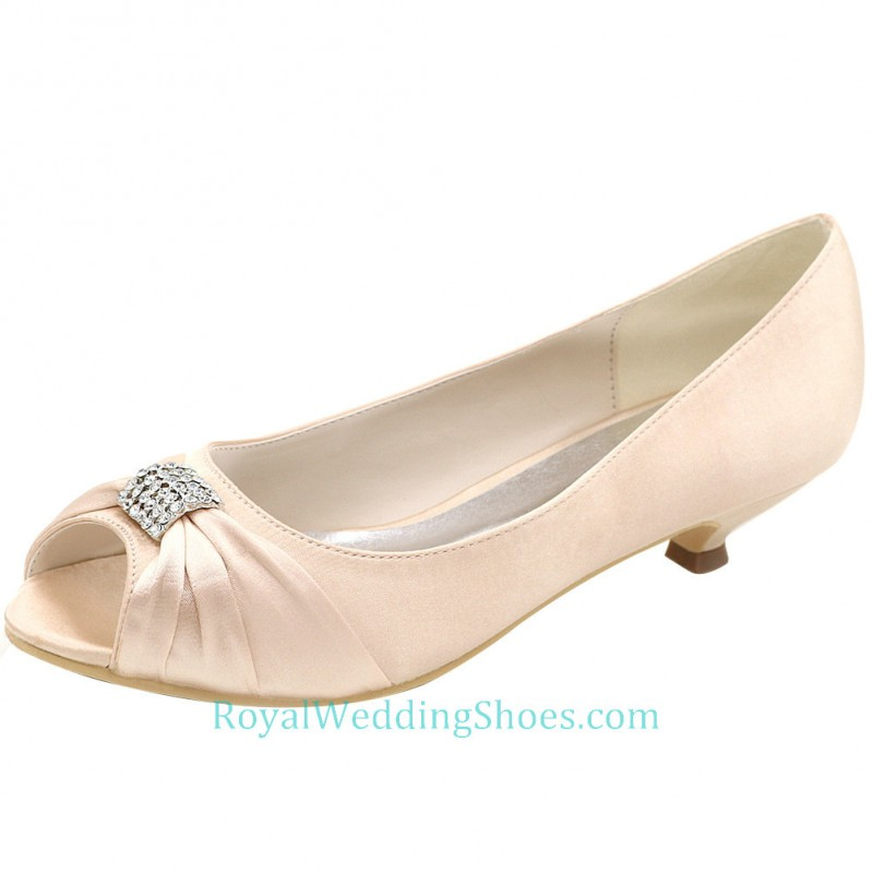 Pink Low Heel Wedding Shoes: Peep Toe Satin Low Heel Wedding Shoes Blush Pink