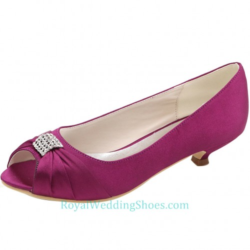 9e2e2be4742 Peep Toe Satin Purple Low Heel Wedding Shoes