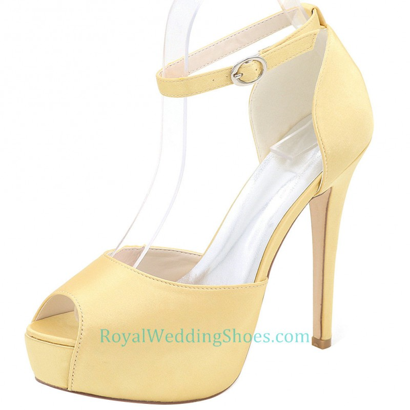 fa66eeebe2b46a Platform Satin Ankle Strap Yellow Prom Shoes Daffodil Wedding Shoes