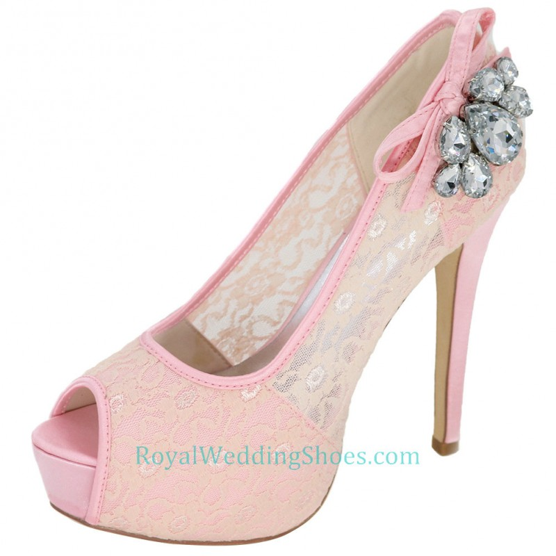 platform ultra high heel pink prom shoes lace wedding shoes