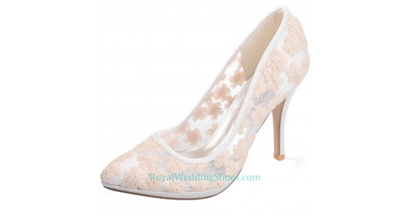 74298ad4e86 Pointed Illusion Lace Wedding Shoes Champagne Prom Shoes