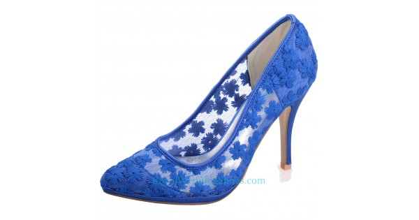 c08a302d7eaa8 Pointed Illusion Lace Wedding Shoes Royal Blue Prom Shoes