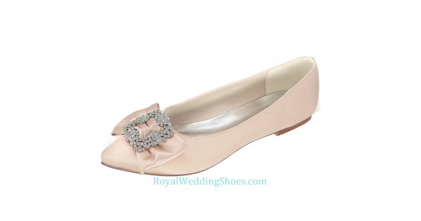 102c98580a10 Pointed Toe Nude Pink Wedding Flats With Brooch