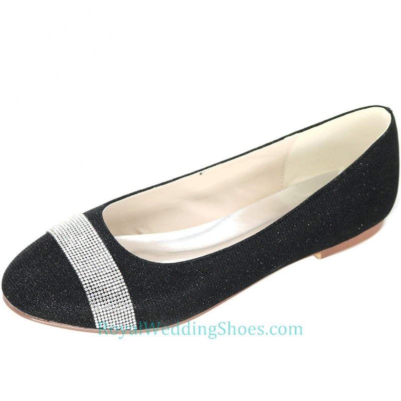 Round Glitter Wedding Flats Comfortable Black With Silver Evening Shoes
