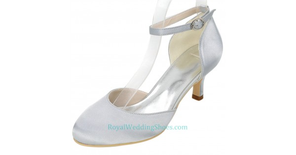 727739e6b1f Round Toe Ankle Strap Silver Wedding Shoes With Mid Heels