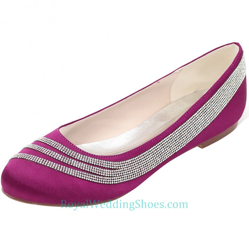 Round Toe Purple Prom Flats Comfortable Wedding Shoes