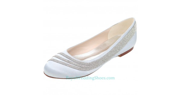 Silver Flats For Wedding.Round Toe Silver Prom Flats Comfortable Wedding Shoes