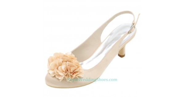 Round Toe Slingback Low Heel Wedding Shoes Champagne