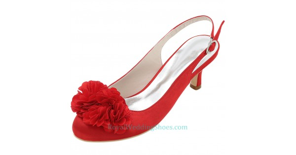 Low Heel Red Wedding Shoes
