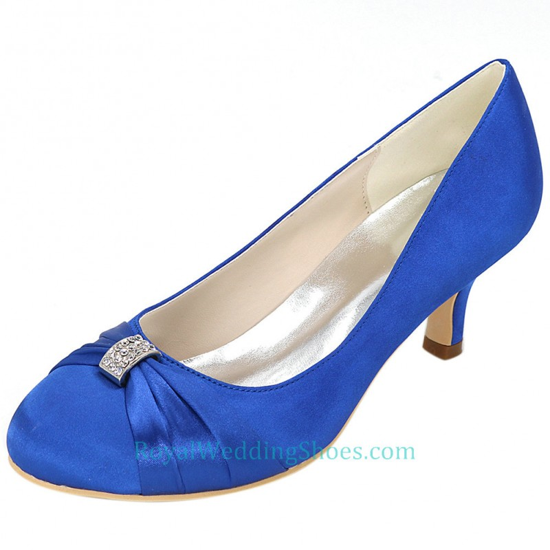 2 Inches Heel Satin Royal Blue Prom Evening Shoes Satin