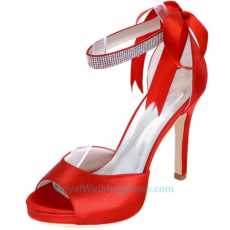 f37187579ea Ankle Strap Peep Toe Red Prom Shoes With Ribbon