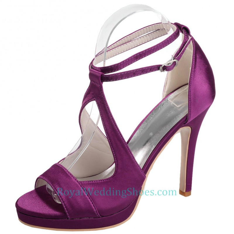 Ankle Straps Strappy Purple Wedding Shoes With High Heels