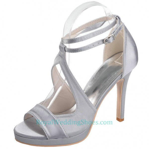 Silver Wedding Shoes.Ankle Straps Strappy Silver Wedding Shoes With High Heels
