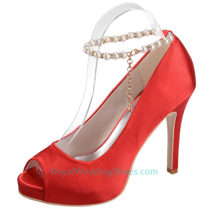 open toe ankle straps pink wedding shoes with ultra high heel
