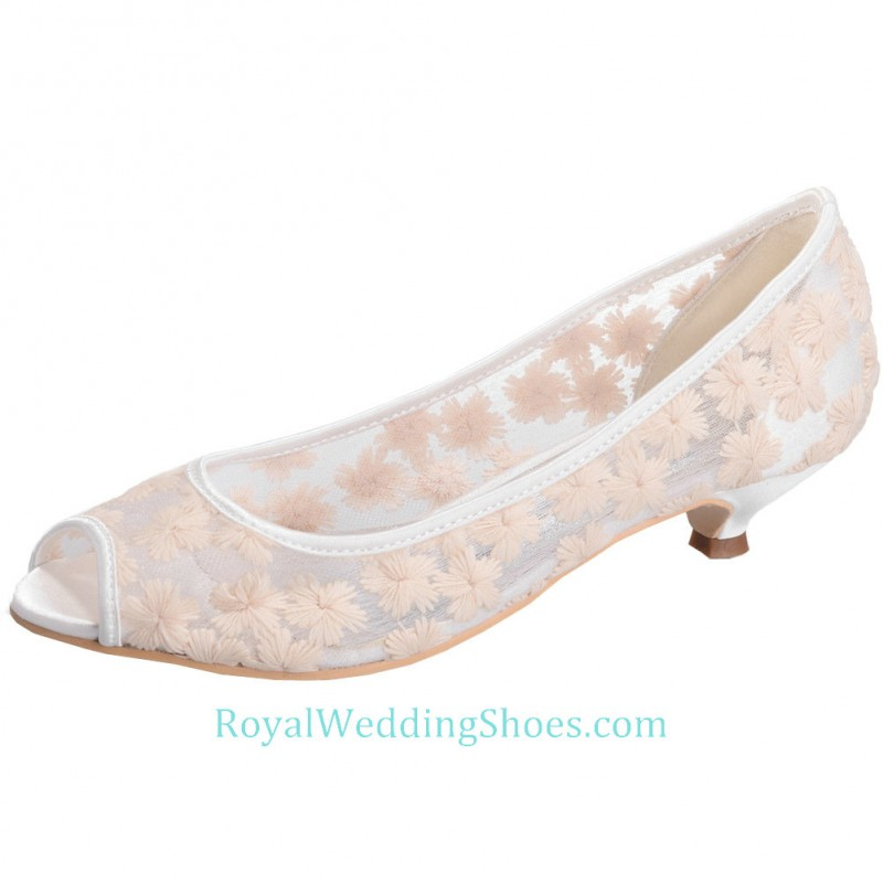 2cbf36fe25 Open Toe Champagne Prom Shoes Lace Wedding Shoes Low Heels