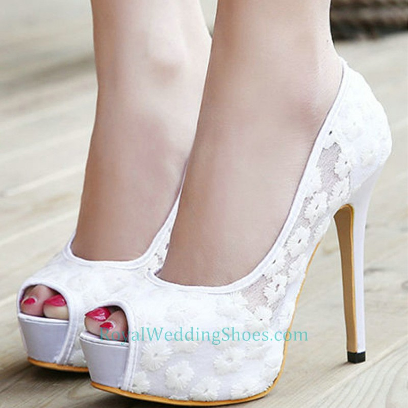 Pumps Open Wedding Toe Prom Shoes Lace Black Platform shrCotdQxB