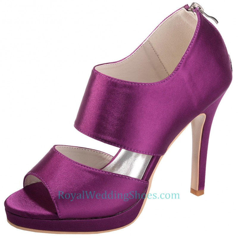 632529e2fdf8 Open Toe Purple Wedding Shoes With Zipper Back