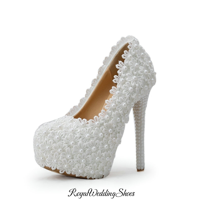Wedding White Pumps: Closed-Toe Pumps White Wedding Shoes With Lace Flowers And