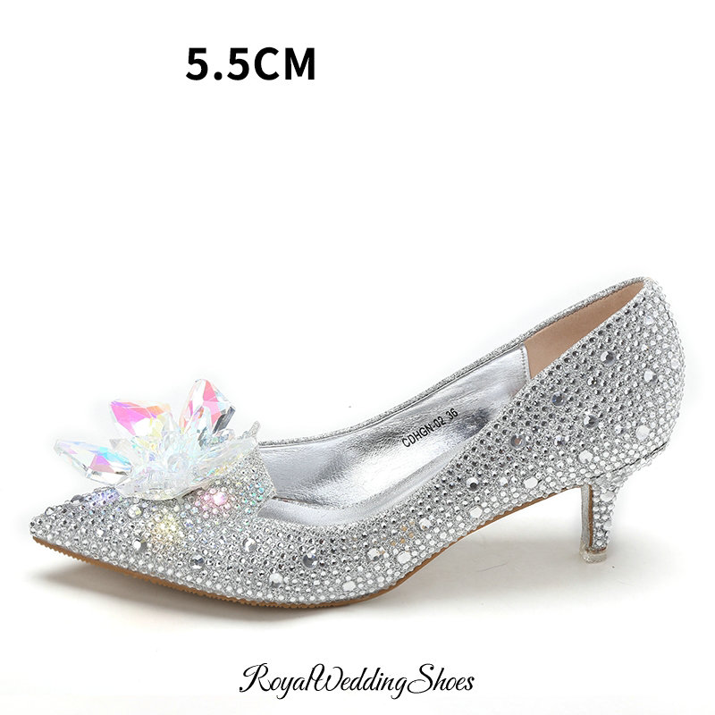 Crystal Beaded Pointed Toe Low Heel Pumps Silver Wedding Shoes