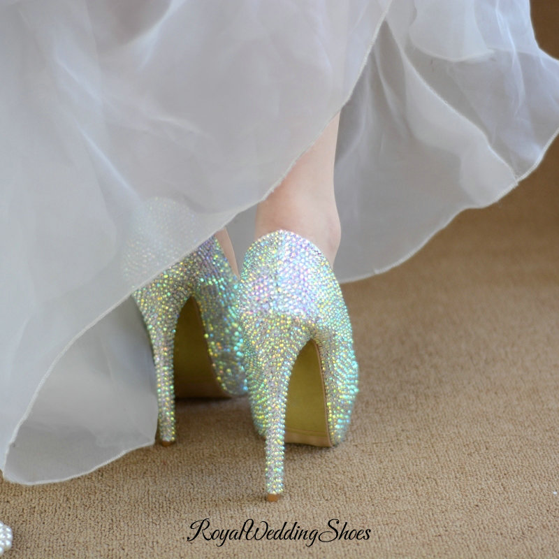 Crystal And Glitter High Heel Pumps Iridescent Wedding Shoes