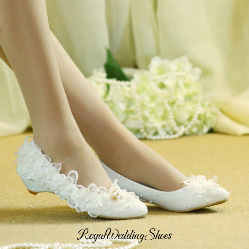 Flat Heel Lace Flower Maternity Wedding Shoes