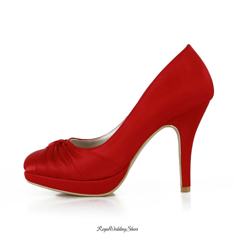 High Heel Twisted Satin Red Wedding Shoes