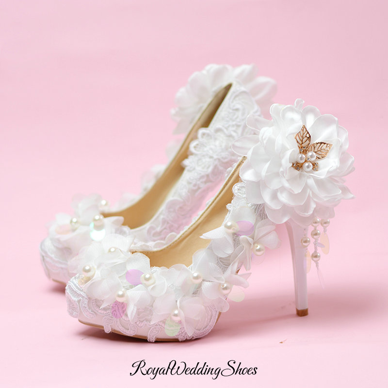 High Heels Platform Flower Wedding Shoes With Pearl Detailed