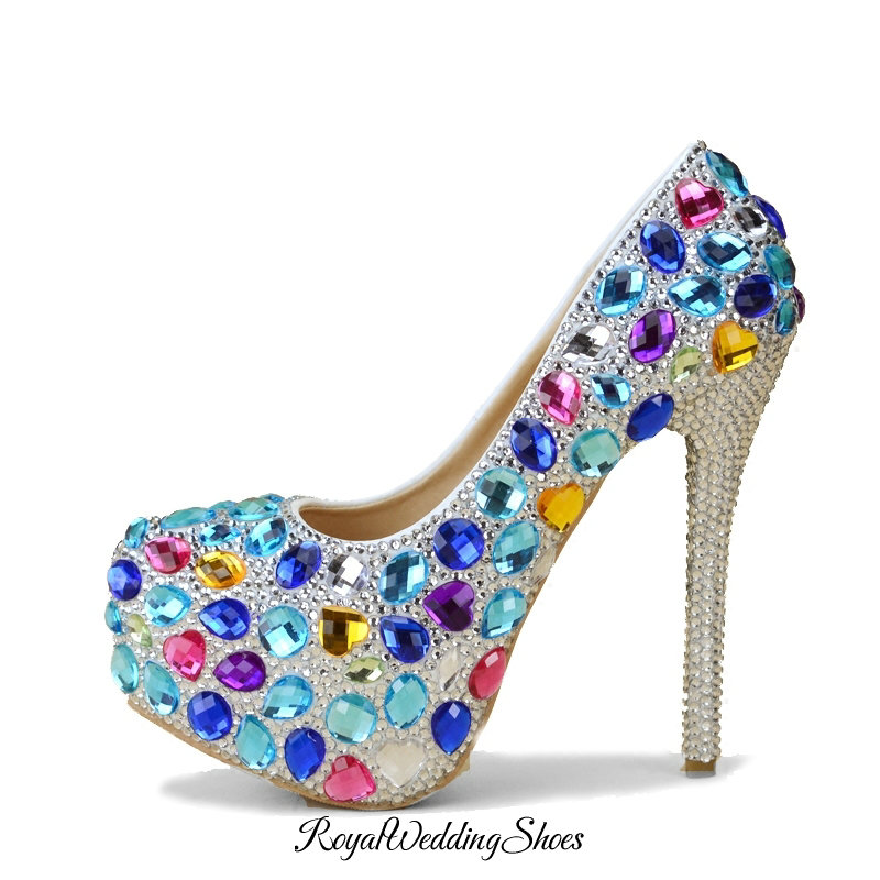 Multi Color Crystal High Heel Shoes