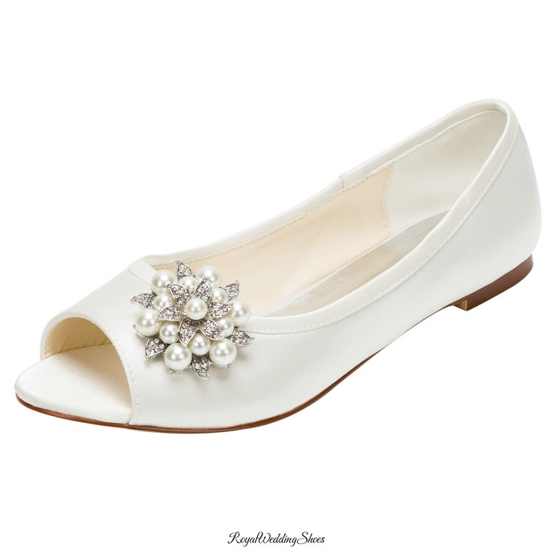 Peep-Toe Flat-Heel Satin Wedding Shoes With Pearl And