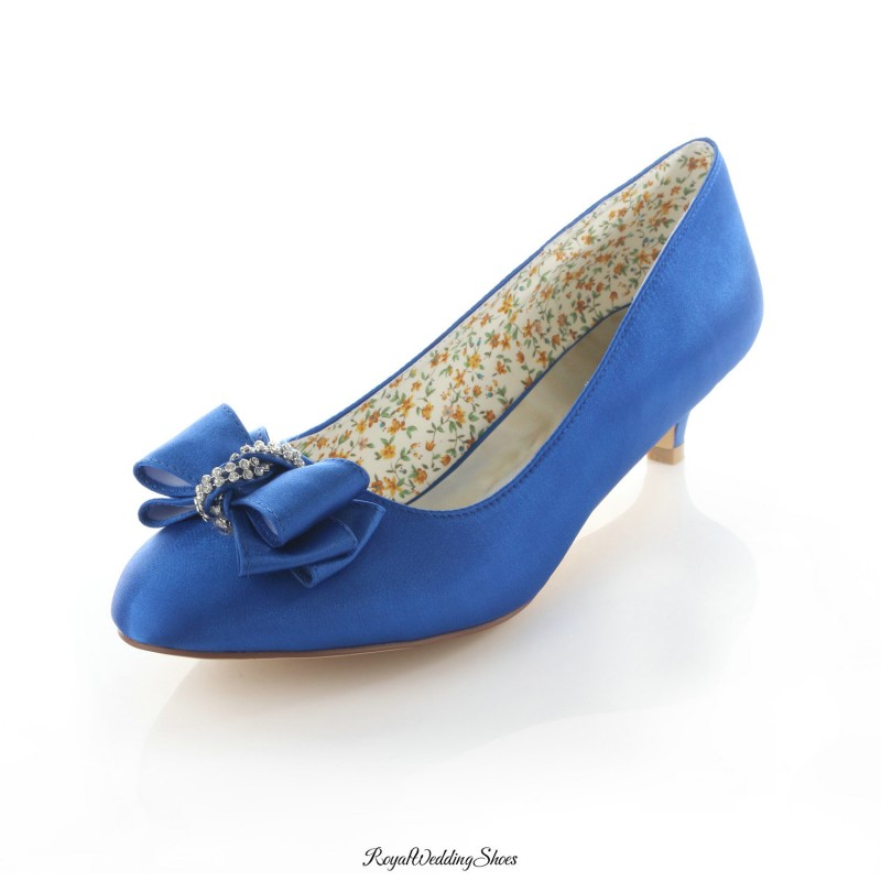 Round-Toe Kitten-Heel Satin Blue Wedding Shoes With Beads