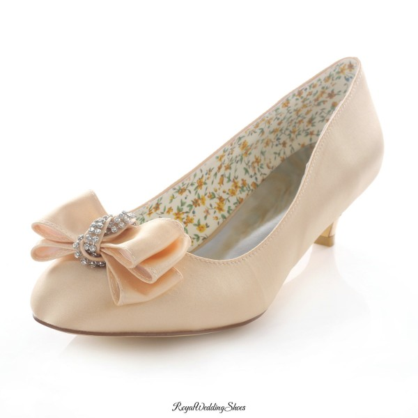 4da952a572d Round-Toe Kitten-Heel Satin Champagne Wedding Shoes with Beads Bowknot