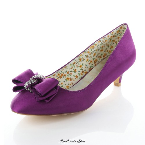 807e78095bc Round-Toe Kitten-Heel Satin Purple Wedding Shoes with Beads Bowknot