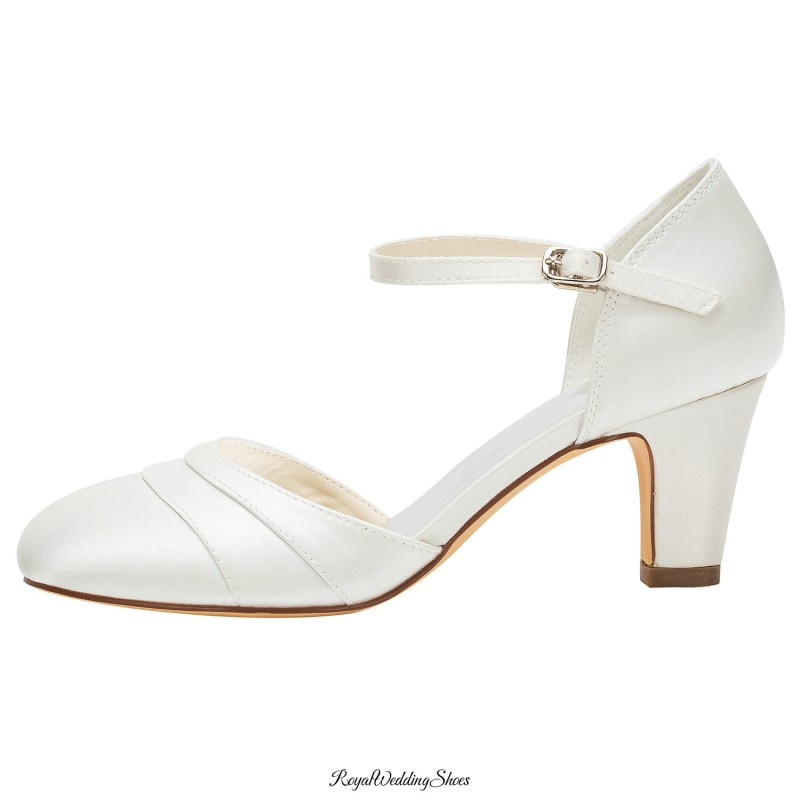 Satin Pleated Mid-Block-Heel Bridal Shoes With Ankle Strap