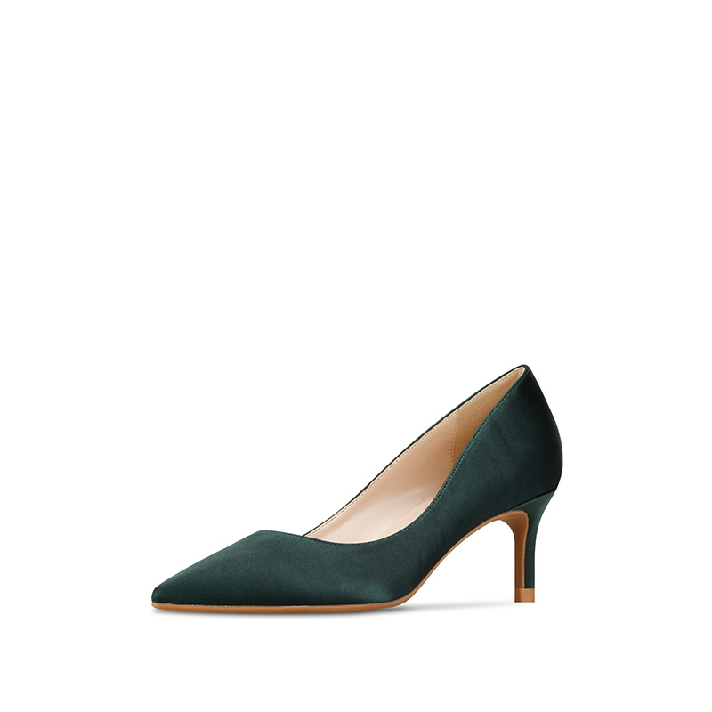 Satin Simple And Elegant Stiletto Pumps Green Wedding Shoes