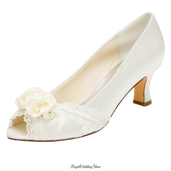 a9ef1954ed4e Satin and Lace Kitten-Heel Peep-Toe Wedding Shoe with Flowers